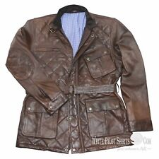 Quilted Panther Leather Jacket Vintage Brown for Men Military Field Benjamin Wax
