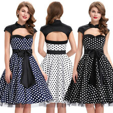 Dress Evening Dots Bow Knot Retro Vintage Womens Party Swing Hollowed Polka 50s