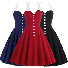 Dress Evening Pinup Halter Skater Retro Vintage Sweetheart Womens Party Swing