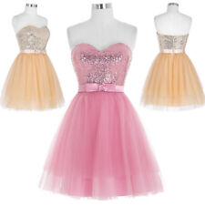 Evening Dress Prom Size Cocktail Lady Tulle Sequins Sequined Bridesmaid Short