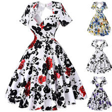 Dress Pinup Cocktail Floral Housewife Vintage Womens Party Swing Hollowed Back