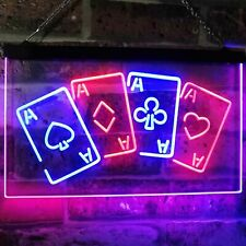 Four Aces Poker Casino Bar Dual Color Led Neon Sign st6-i2705