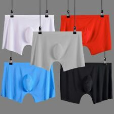 Mens Plus Size Ice Silk Underwear Seamless 3D U Pouch Boxer Shorts Mid Waist