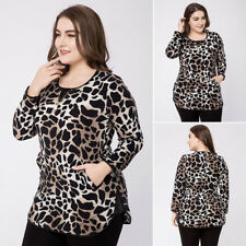 Plus Size Womens Leopard Print Blouse Top Ladies Casual Long Sleeve Tee T-Shirt