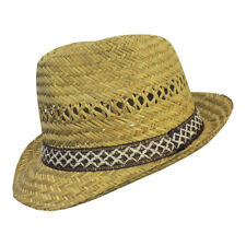 New Retro 1940s 50s Mens Straw Trilby Style Summer Hat