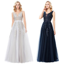 Ball Evening Dress Prom Tulle Party Netting Appliques Long 8 Bridesmaid Gown