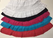 100% Cotton Boho Uncinetto Finiture in Pizzo Rurale Sweep lungo Gonne