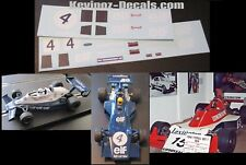 Scalextric Decals / Transfers for Tyrrell 007 & Tyrrell 008