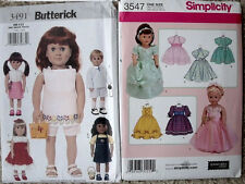 """Choice of Simplicity 3547 Butterick 3491 Pattern for 18"""" Doll Clothes Outfits"""