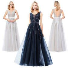 Ball Evening Dress Prom Party Wedding Netting Long Sleeveless Bridesmaid Gown