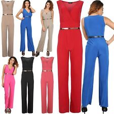 5d46070f2336 Womens Ladies All In One V Neck Wrap Gold Belted Vest Flared Wide Leg  Jumpsuit