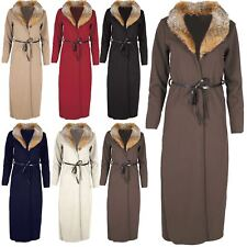 Womens Textured Duster Coat Ladies Faux Fur Collar Tie Belted Cape Cardigan Top