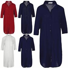 Womens Loose Fit Collared Summer Oversized 3/4 Sleeves Chiffon Shirt Shift Dress