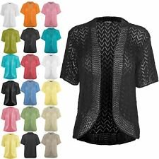 Ladies Womens Open Front Bolero Shrug Tie Up Lace Crochet Knitted Cardigan Top