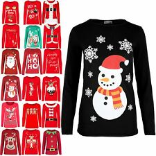 Womens Santa Face Long Sleeve Top Ladies Snowflake Snowman Stretch Dress T Shirt