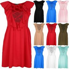 Womens 70'S Lace Up Eyelet Detail Top Ladies Frill Back Flared Mini Skater Dress