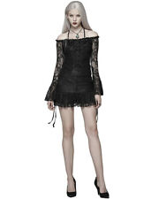 Punk Rave Womens Gothic Tunic Top Mini Dress Black Rose Lace Lolita Steampunk