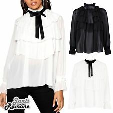 Womens Ruffle Frill Pussy Bow Tie Up Long Sleeve Blouse Summer Party Shirt Top