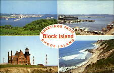 Greetings From Block Island Rhode Island Chrome Postcard Vintage Post Card