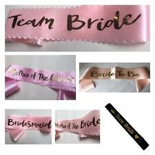 Hen Party Sashes Team Bride Girls Night Out Party Wedding Rose Gold Sash