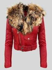 REAL LEATHER MOTO JACKET WITH DETACHABLE RACCOON FUR FOX COLLAR FOR WOMEN