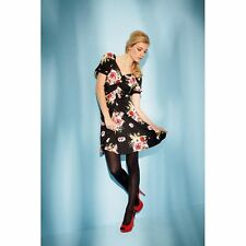 NEW OASIS STRETCHY BLACK/PINK FLORAL DRESS Size  S