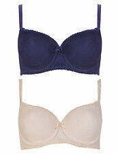 LADIES TWO PACK OF PADDED BALCONY T-SHIRT BRAS IN 32A 34A IN BLUE AND PINK LACE