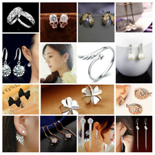 Rose Gold Silver Plated CZ Long Drop Dangle Clover Bridal Spider Earrings Ring