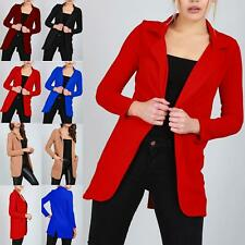 Ladies Womens Open Front Casual Blazer Long Sleeve Collar Pocket Duster Cardigan
