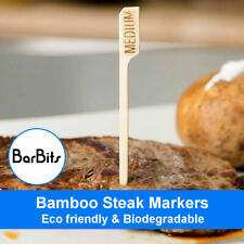 "3.5/"" Pack of 100 Bamboo Steak Markers Skewers Wooden Paddles Picks 9cm"