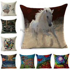 Home Sofa Pillow Painting Art Cushion Cotton Oil Decor Cover Linen Throw Case