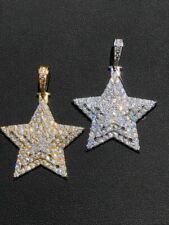 Solid 925 Silver Iced Out Hip Hop Mens Diamond Star 14k Plated SUPERSTAR Pendant
