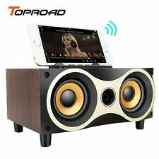 TOPROAD Portable Wooden Wireless Speaker Subwoofer Stereo Bluetooth Speakers
