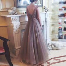 Apricot Dress Gown Women Ladies Wedding Bridesmaid Sleeveless Fashionable
