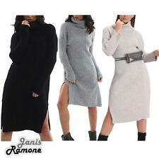 Womens Polo Roll Neck Chunky Knitted Side Split Baggy Warm Midi Jumper Dress Top