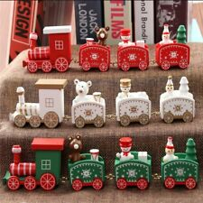 New Christmas Train Painted Wood Christmas Decoration for Home with Santa/bear