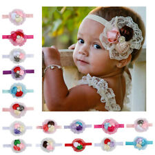 HB- Faux Pearl Inlaid Flower Lace Baby Girls Headband Hair Band Photo Props Surp