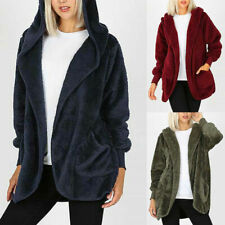 Womens Faux Fur Hooded Parka Jacket Coat Ladies Teddy Bear Warm Outwear Cardigan