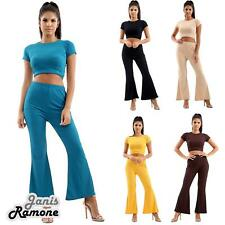 UK Womens Ribbed Short Sleeve Crop Top Flared Trouser Pants 2 Pcs Co-Ord Suit