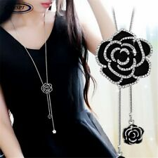 BYSPT Zircon Black Rose Flower Long Necklace Sweater Chain Fashion Metal Chain