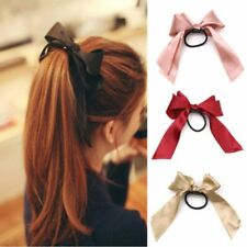 Women Rubber Bands Tiara Satin Ribbon Hair Bow Elastic Hair Band Rope