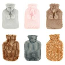 Faux Fur Hot Water Bottle Bag with Cover Knitted Warm plush Soft Luxury Rubber.