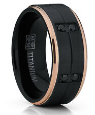 Black and Rose Gold Tone Titanium Wedding Band Ring Black Cubic Zirconia