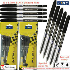 LINC Faster 0.7mm Fine Writing BLACK BLUE Super Smooth Ballpoint Pens Comfort