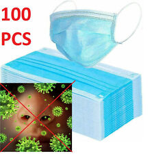 100PCS Disposable Face Mask Surgical Medical Dental Industrial 3-Ply Coronavirus