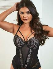 B-F Pour Moi Amour Underwired Padded Basque Black//Blue 1505