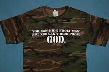 Can't Hide From God Camouflage Desert Forest Military Jesus Christ T-shirt Camo!
