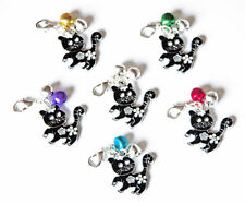 CUTE PET CAT COLLAR CHARM  BLACK ENAMEL with BELLS