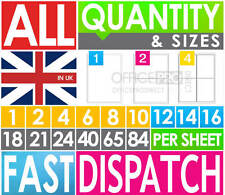 ALL SIZES 10 25 50 100 200 500 1000 2000 SHEETS-A4 SELF ADHESIVE PRINTER LABELS