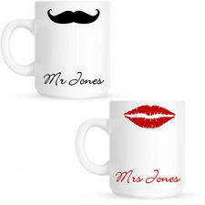 Mr | Mrs Personalised Anniversary Wedding Gift Lips Moustache Mug Set